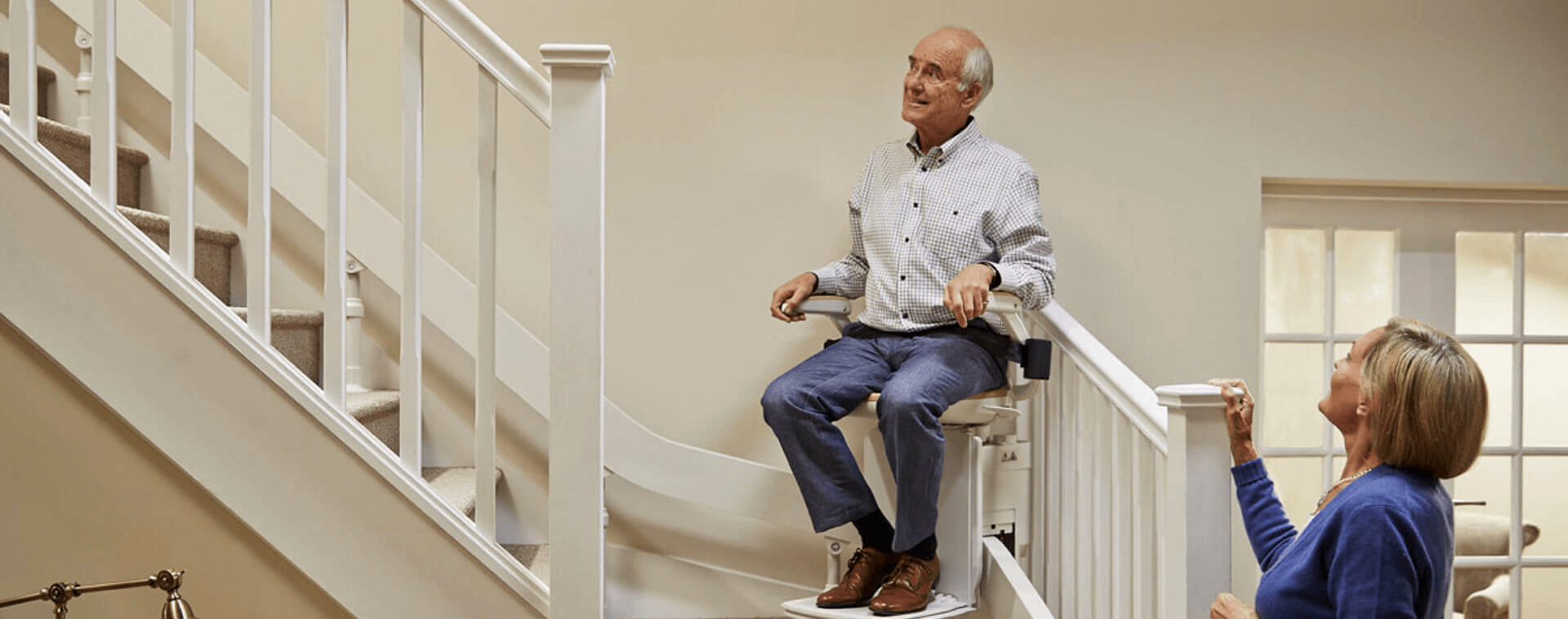 Man using a Acorn Stairlift