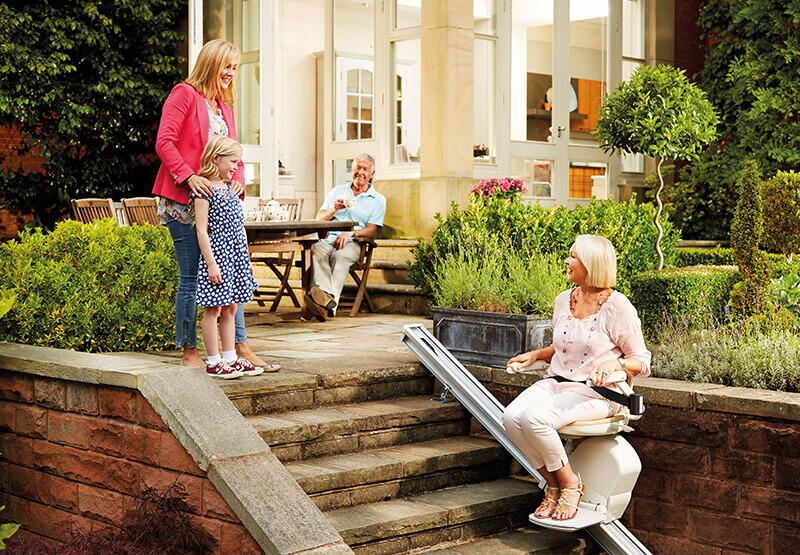 Image of Outdoor Stairlift in use